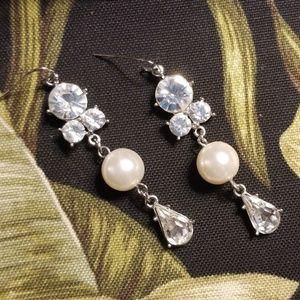 Elegant rhinestone and pearl earrings